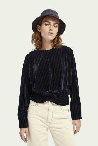 donker blauwe fluwelen sweater met strepen dessin 159328