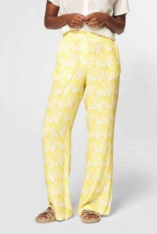 rechte gele broek met floral print yana s20.23.7712