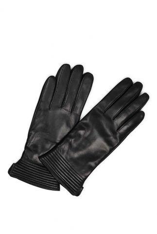 gevoerde leren handschoenen met touch functie   yola