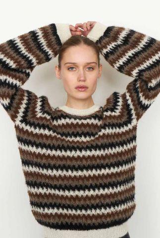 trui met ingebreid zigzag dessin en ballonmouwen yolanda knit o-neck