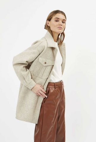half lange oversized beige gemêleerde jas yoli 9082