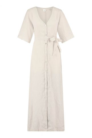 beige maxi linnen jurk met ceintuur yuma 3052305