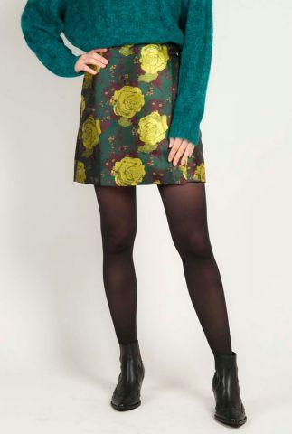 donker groene korte rok met bloemen print zang skirt