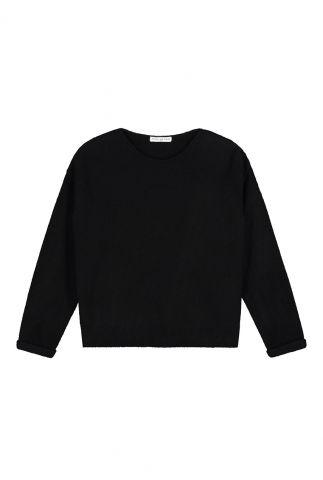 zachte zwarte trui met ronde halslijn zane knit w20.95.4211