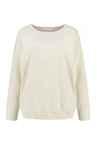 crème kleurige sweater met ronde hals zane sweat comfy.2.7033