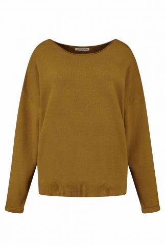 lichtbruine loose fit trui met ronde hals zane knit w21.125.3711
