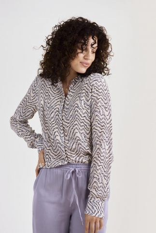 off white blouse met all-over print zaron botanical shirt l/s