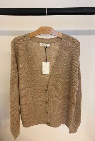 gebreid wolmix vest met diepe v-hals en pailletten detail zelda