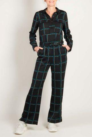 zwarte jumpsuit met groot ruitpatroon en ritssluiting zinnia jumpsuit