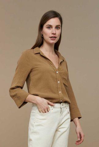 bruine katoenen blouse met wafelstructuur zoe doppia
