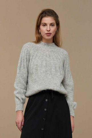 alpaca mix trui met hoge hals en ingebreid dessin zoe pullover