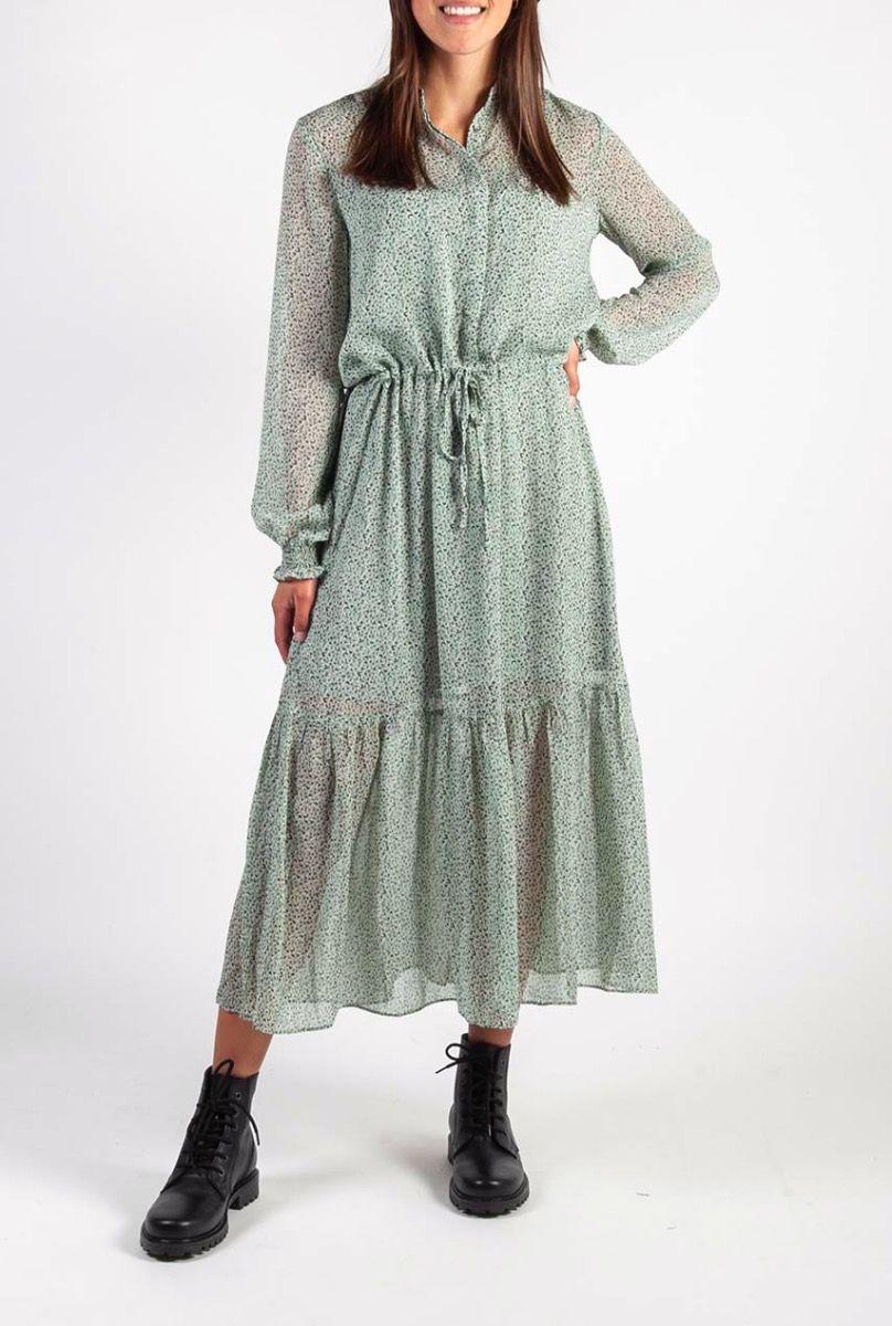 Wonderlijk mint groene maxi jurk met all-over print diaz kasey dress JP-46