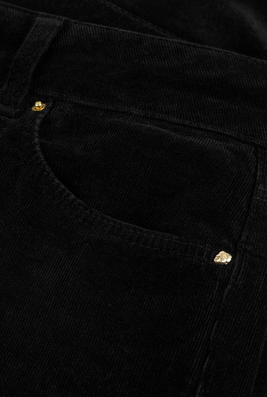 Fabienne Chapot zwarte corduroy broek met flared pijpen eva corduroy